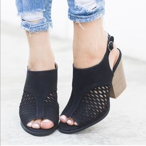 Black Cutout Open Buckle Strap Stacked Heel